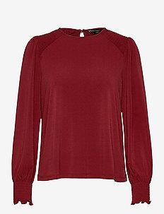 Wrinkle-Resistant Balloon-Sleeve Blouse - long sleeved blouses - brick