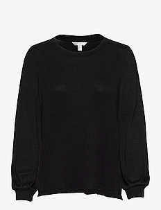 Cozy Ribbed Puff Sleeve Top - long-sleeved tops - black