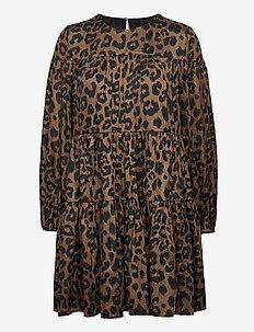 Print Satin Tiered Mini Dress - everyday dresses - leopard