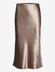 Bias-Cut Midi Slip Skirt - midi skirts - bare