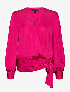 Satin Wrap Top - long sleeved blouses - fuschine