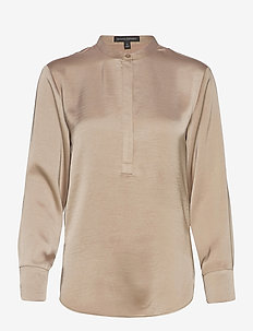 Washed Satin Tunic - long sleeved blouses - bare