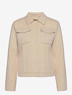 Double-Faced Trucker Jacket - wool jackets - almond