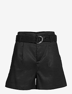"High-Rise Pleated 4"" Linen-Cotton Short - paper bag shorts - br black"