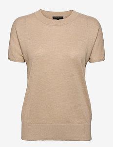 Linen-Blend Short-Sleeve Sweater - strikkede toppe - cool beige