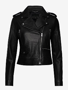 Classic Leather Moto Jacket - leather jackets - black