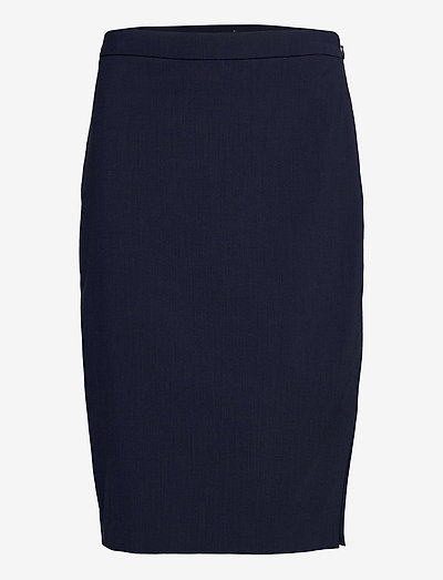 Washable Italian Wool-Blend Pencil Skirt with Side Slit - navy