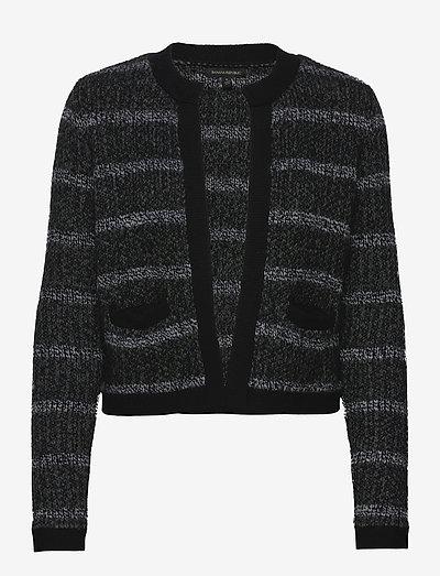 Collarless Sweater Jacket - koftor - black multi