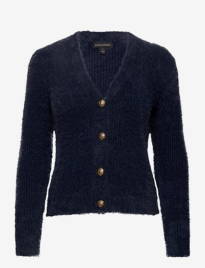 Fuzzy Cropped Cardigan Sweater - koftor - preppy navy