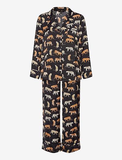 Satin Pajama Set - pyjamas - travel animal flrl tt