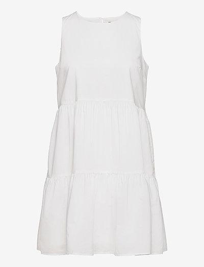 Organic Poplin Tiered Mini Dress - sommarklänningar - vwhite