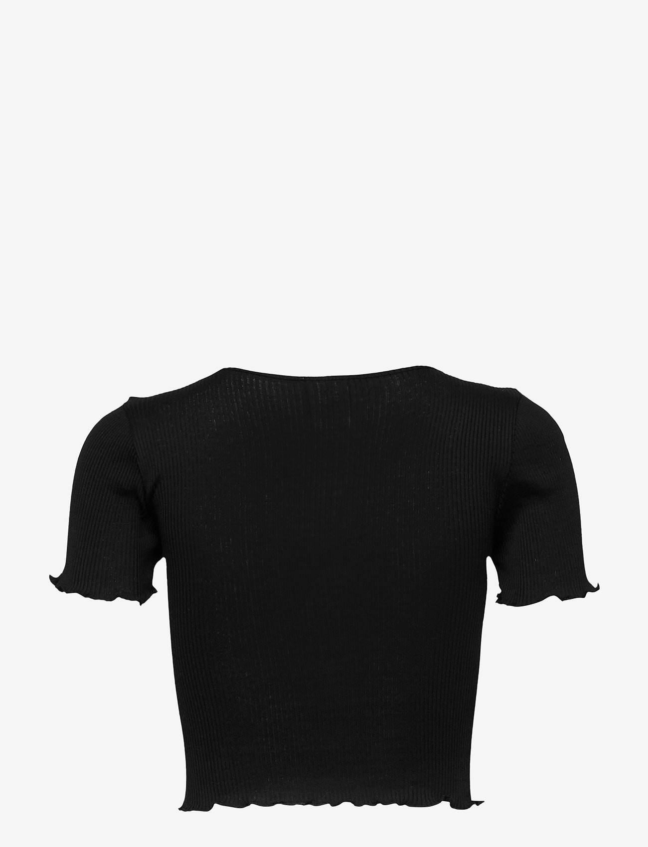 Barbara Kristoffersen by Rosemunde - Silk cardigan ss - crop tops - black - 1