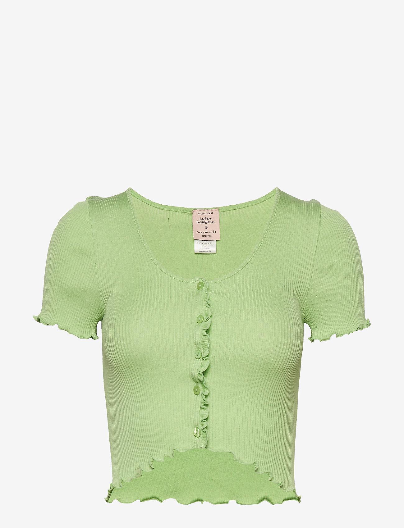Barbara Kristoffersen by Rosemunde - Silk cardigan ss - crop tops - light pistachio - 0