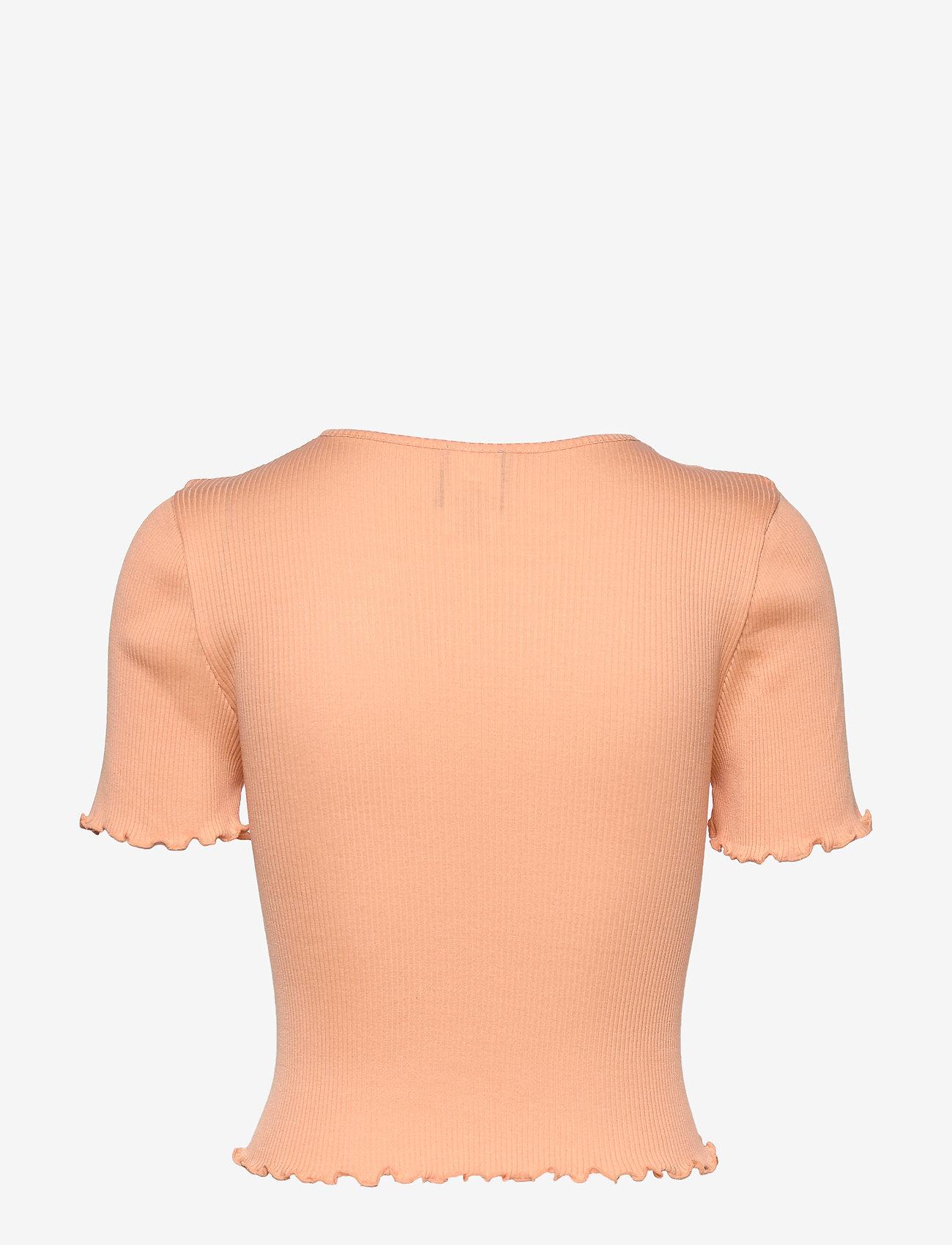 Barbara Kristoffersen by Rosemunde - Silk cardigan ss - crop tops - warm peach - 1