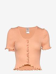 Barbara Kristoffersen by Rosemunde - Silk cardigan ss - crop tops - warm peach - 0
