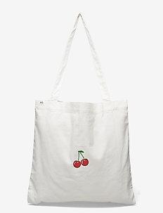Bag - totes - white w/ medium cherry
