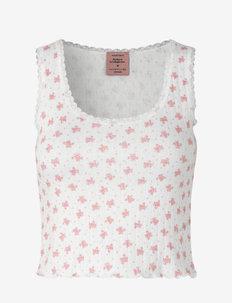 Silk top short - crop tops - white w/ candt pink flower