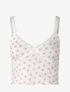 Strap top short - crop tops - white w/ candt pink flower