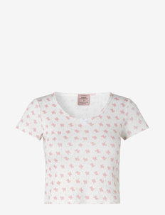 T-shirt ss - t-shirts - white w/ candt pink flower