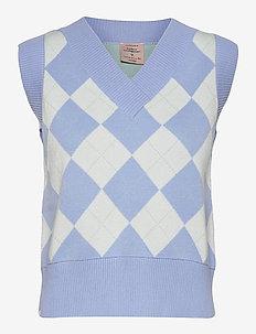 Vest - stickade västar - serenity blue check
