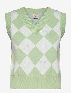 Vest - stickade västar - smoke green check