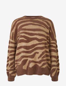Pullover ls - tröjor - brown zebra stripe