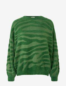 Pullover ls - trøjer - green zebra stripe