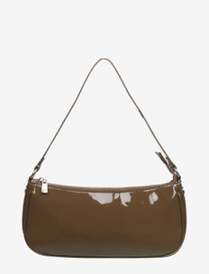 Bag small - top handle tasker - dark chocolate silver