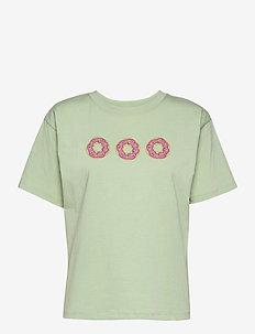 Organic t-shirt ss - t-shirts - smoke green w/ donut print