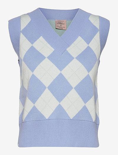 Vest - strikkevester - serenity blue check