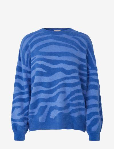 Pullover ls - gensere - blue zebra stripe