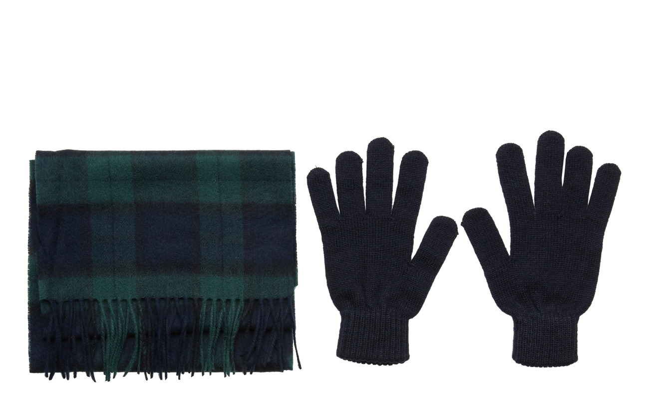 Barbour Scarf And Glove Gift Box - BLACK WATCH TAR