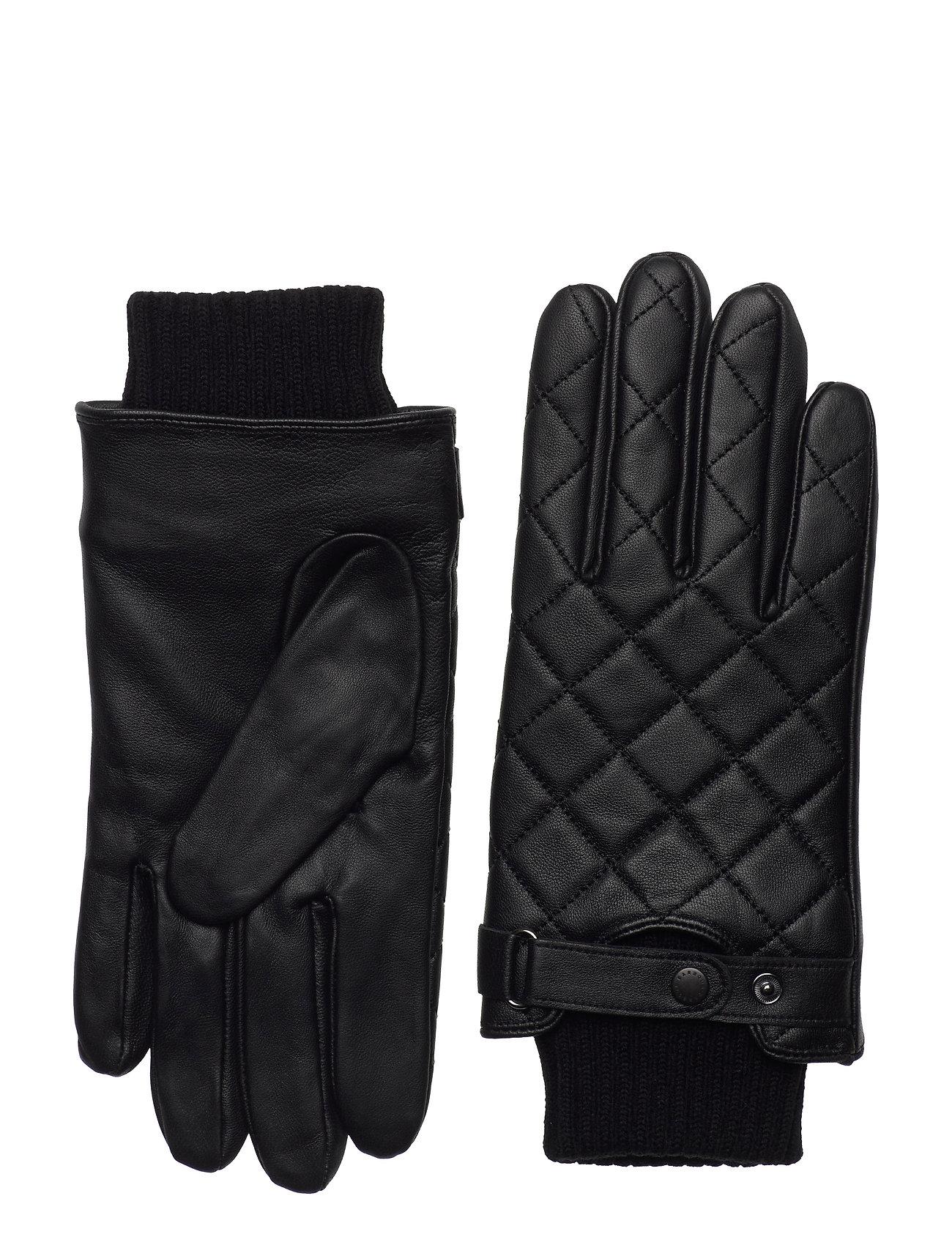 Barbour Quilted Leather Glove Handsker Sort Barbour