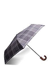 Barbour Tartan Mini Umbrella - BLACK/GREY