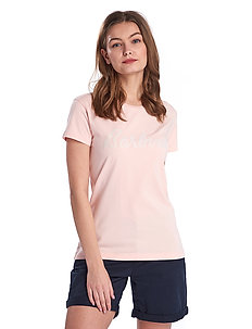 Barbour Rebecca Tee - logo t-shirts - pale coral