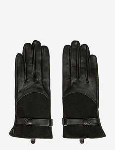 Barbour Lthr Wool Glov - BLACK