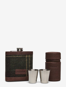Barbour Tartan Hip Flask And  Cups Gift Set - drink & barutstyr - classic