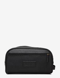 Leather Washbag - BLACK