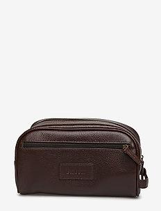 Leather Washbag - BROWN