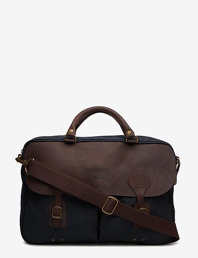 Barbour Wax Lth Briefcase - tasker - navy