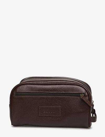 Leather Washbag - väskor - brown