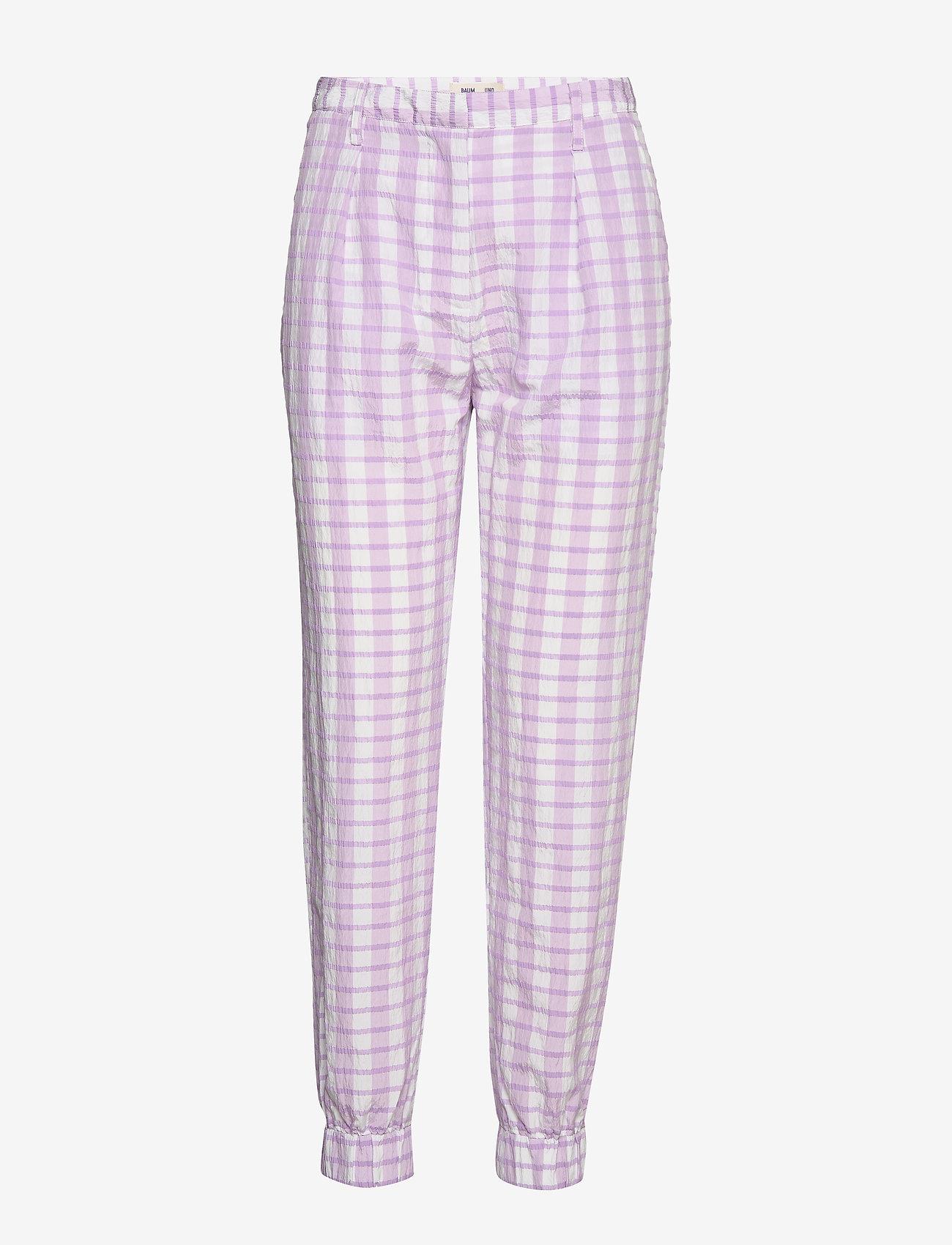 Baum und Pferdgarten - NEMA - casual trousers - creamy lilac check - 0