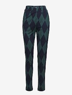 JAFFA - spodnie rurki - green blue harlekin