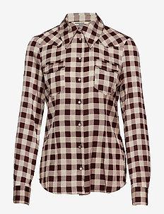 MARJANI - langærmede skjorter - creamy red check