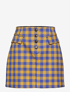 SHANI - short skirts - golden blue check