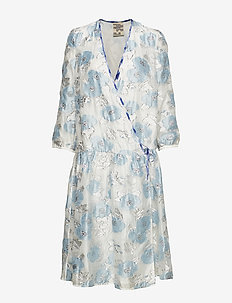 ADEN - robes portefeuille - blue floating flowers