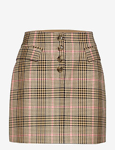 SHANI - short skirts - camelpinkcheck