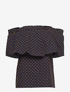 MONIQ - short-sleeved blouses - peacoat abricot dot