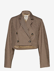 BIANKA - blazere - coffee camel check