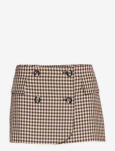 SCHELA - short skirts - coffee camel check